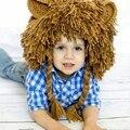 Fotografia Adereços Engraçado Plush Faux Fur Animal Leão Capuz Gorro Chapéu de Inverno Para Crianças Miúdos Das Meninas Dos Meninos Traje Cosplay Cap