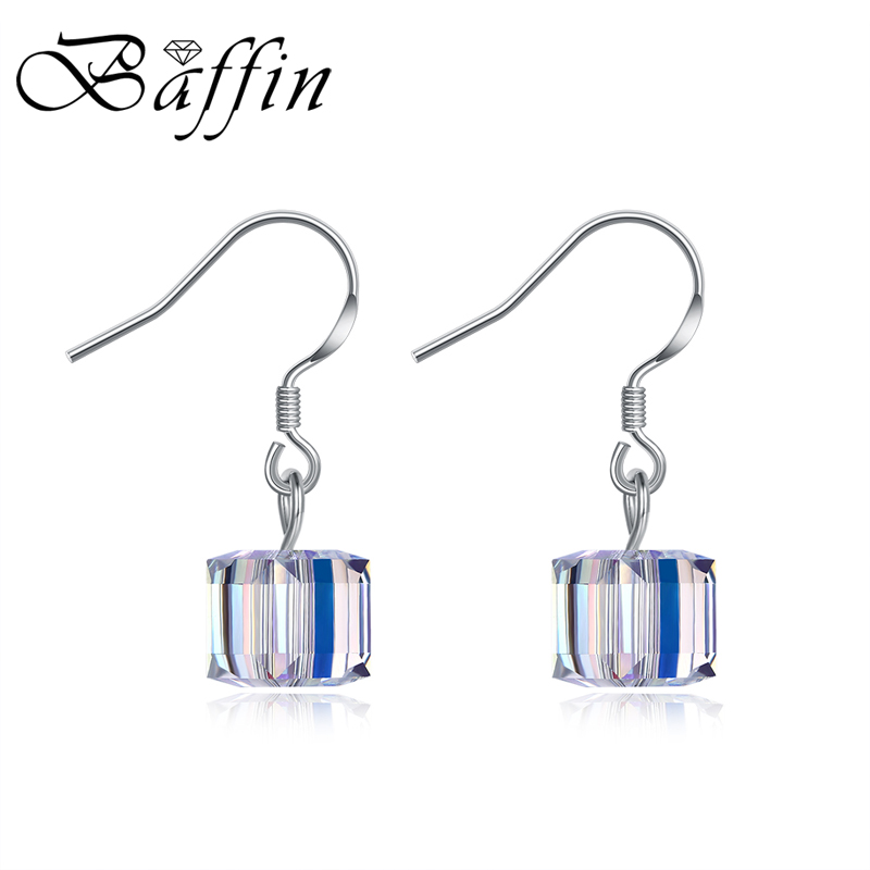 Us 8 94 20 Off Baffin Real 925 Sterling Silver Crystal Drop Earrings Made With Swarovski Elements Cube Dangle Jewelry For Women Whole In