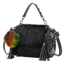 26b27461a104 Messenger Crossbody Bag for Women Leather Handbags Brand Designer Ladies  Shoulder Bags Fur Shopper Black Sling