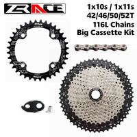ZRACE Chainring 32T / 34T / 36T+ 10S 11S Bike Freewheel 46T / 50T / 52T + SUMC 10s Chains , 11 Speed Big Cassettes Kits for Sram
