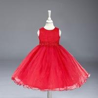 Retail Christmas Girl Party Dresses With Belt Flower Princess Kids Children Dress 6 Colors Girl Wedding