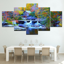 The colorful tree waterfall 5 piece Wallpapers modern Modular Poster art Canvas painting for Living Room Home Decor forest waterfall landscape 5 piece canvas wallpapers modern modular poster art canvas painting for living room home decor