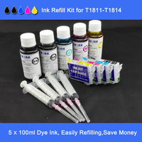 A B C T1811 T1814 Empty Refillable Ink Cartridge Plus 5 100ml Bottled Dye Ink