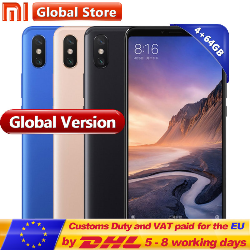 Globale Version Xiao mi mi Max 3 4 gb RAM 64 gb ROM Handy Snapdragon 636 Octa Core Volle bildschirm 5500 mah B4 B20