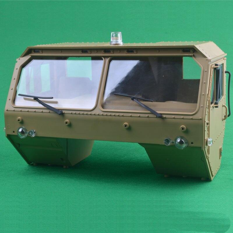 Oyuncaklar ve Hobi Ürünleri'ten Parçalar ve Aksesuarlar'de 1 adet askeri kamyon kabin 8 tekerlek römork altın Beast başlık traktör motoru kafa Cab f RC 1/12 Hengguan P801 tırmanma araba model'da  Grup 1