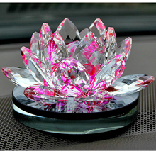 85 mm Feng shui Quartz Crystal Lotus Flower Crafts Glass Paperweight Ornaments Figurines Home Wedding Party Decor Gifts Souveni