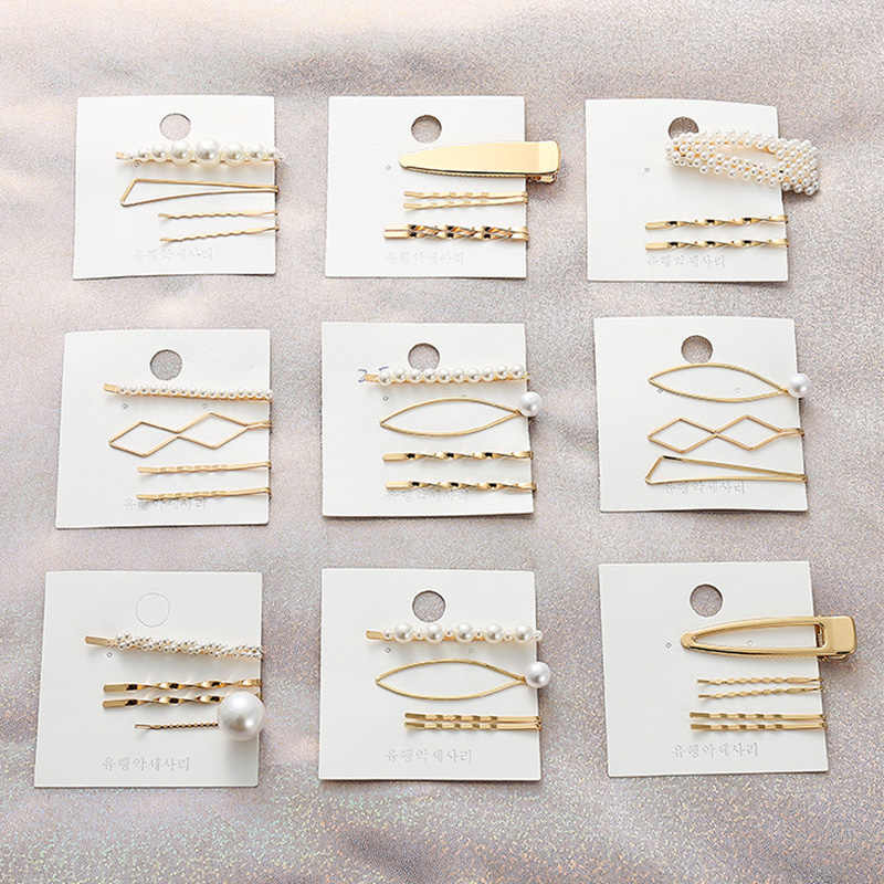 Fashion Simulated Pearl Hair Clip Snap Barrette Hair Jewelry Accessories Mujer Gold Stick Hairpins Korea Cute Bobby Pin for Girl