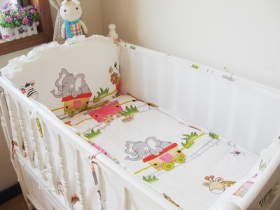 ФОТО Promotion! 5PCS Mesh curtain comfortable bed bumper bumper baby bed sets of baby bed crib set ,(4bumpers+sheet)