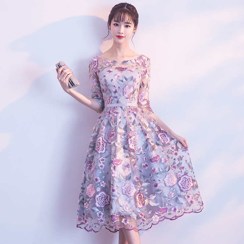 New O-neck Embroidery Evening Dress Half Sleeve Lace Appliques Tea-length Party Gown Formal Dresses LF422