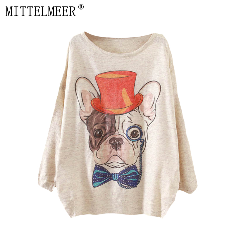 MITTELMEER New Autumn and Spring Harajuku printed Sweaters women o-neck printing Cartoon dog Sweaters tops for women ...