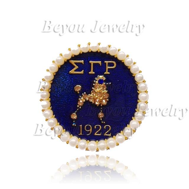 10d850c04 Greek Sorority Gold SGR pearl Sigma Gamma Rho Lapel Poodle Pin brooch  jewelry