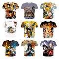 Novo estilo Harajuku Anime One Piece / Naruto / Dragon Ball impressão 3D T shirt homens mulheres casual tripulação tees neck T de roupas de marca