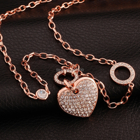 M016 New Design Top Quality Rose Gold Plated Crystal Heart Pendant Necklace 32inches Fashion Jewelry Beautiful
