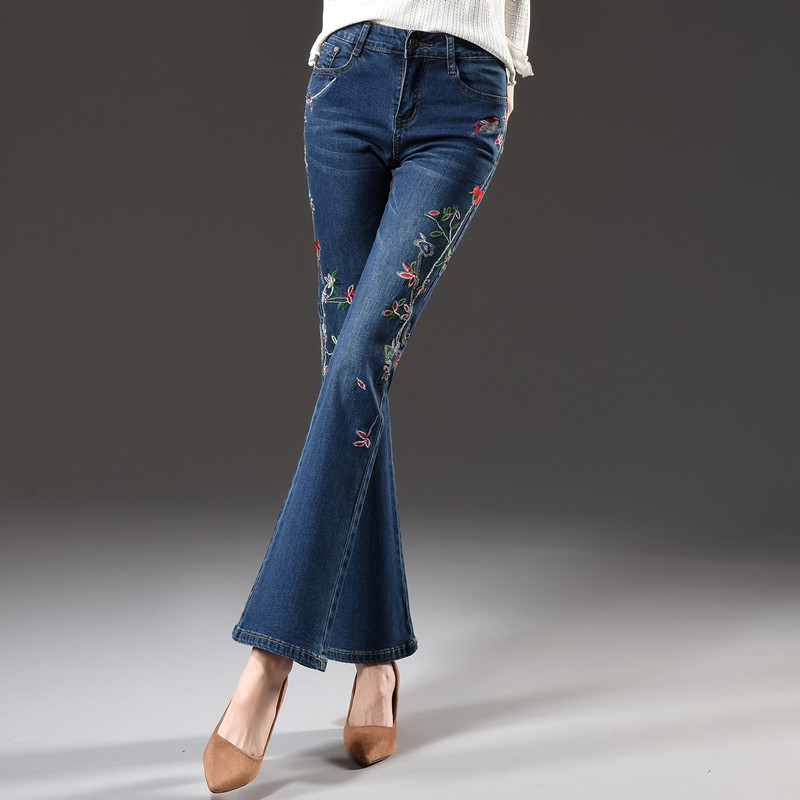 Embroidery jeans denim casual capris cotton blend flare pants for women plus size autumn spring new fashion trousers tyn0714 flower embroidery jeans female blue casual pants capris 2017 spring summer pockets straight jeans women bottom a46