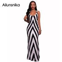 Ailunsnika 2017 Summer Women 2017 White Black Striped Patchwork Sexy Sleeveless Maxi Long Dress MN8070
