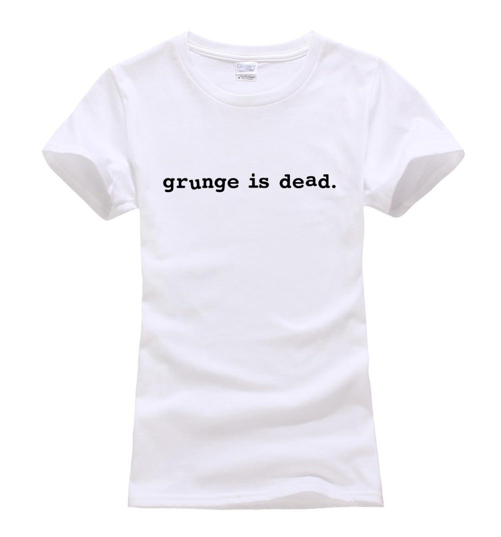 Black t shirt grunge - Grunge Is Dead Printed Punk Women S T Shirt For Lady Harajuku Unicorn Brand Tee Lady Tshirts