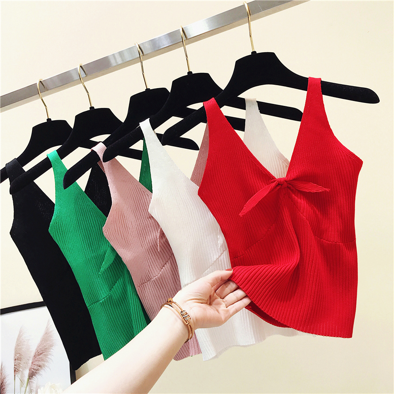 Summer Slim Knitting Bow V-neck Cropped   Tank     Tops   Female Knitted Simple Camisole Sleeveless Solid T shirts Crop   Tops   For Woman