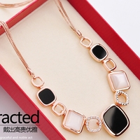 Simple Decoration All match Korea Exaggerated Imitation Opal Accessories Boomers Sweater Chain Acrylic Necklace Gift For Mom