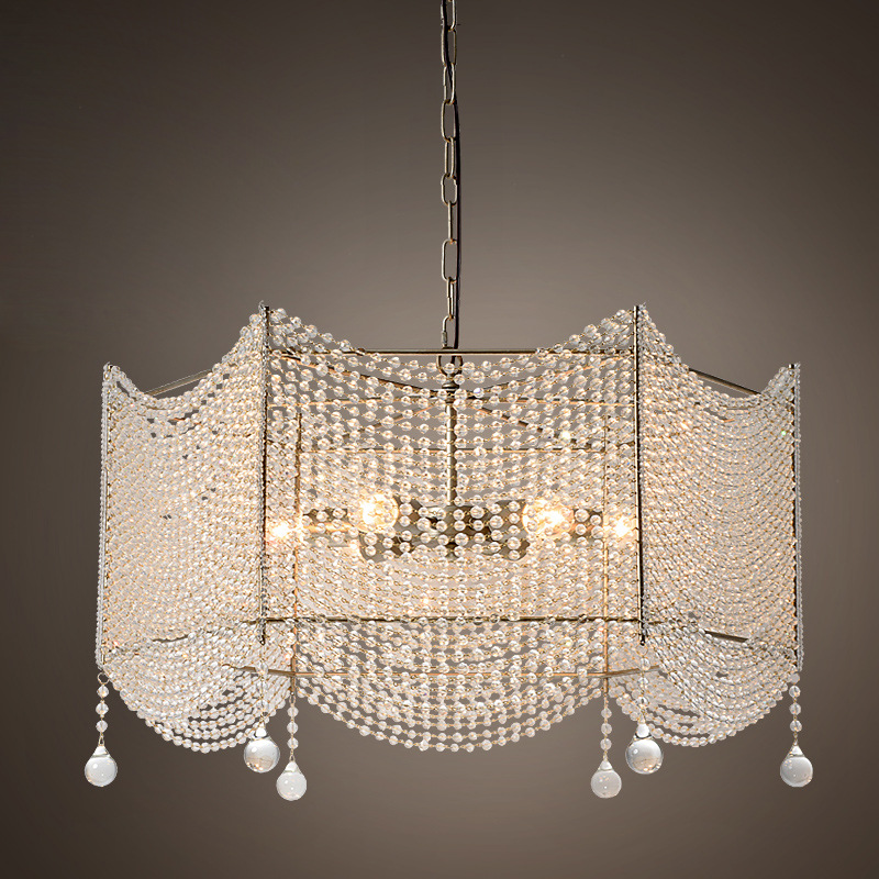 American country loft crystal iron pendant light bar restaurant dining room  bedroom hanging lighting modern crystal chandelier hanging lighting birdcage chandeliers light for living room bedroom dining room restaurant decoration