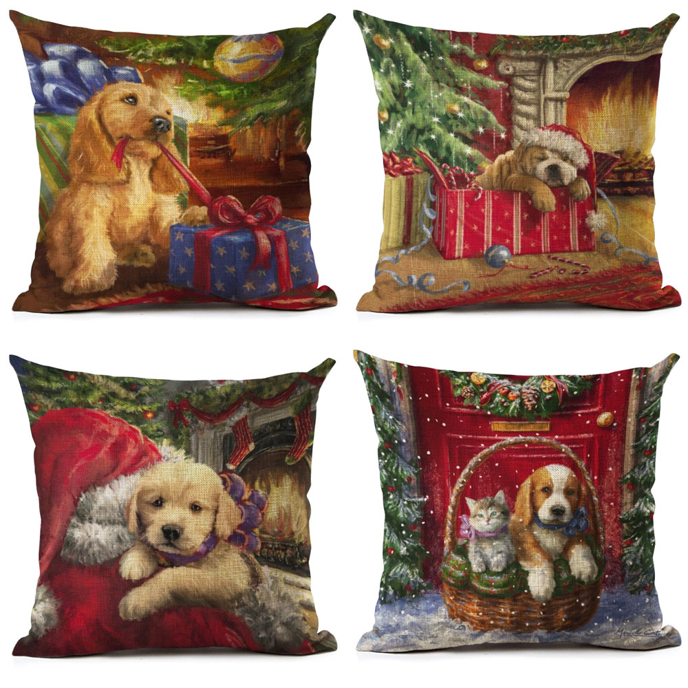 Cute Dogs And Cats Gift Cover Pillowcase Linen Christmas Tree Santa Claus Throw Pillow