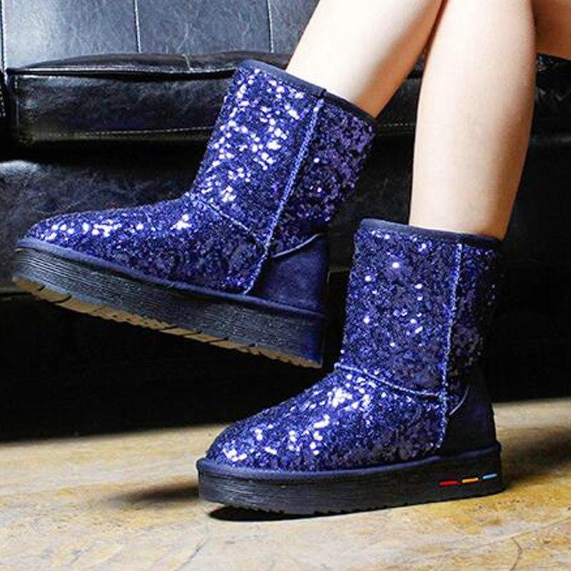 Zapatos 2019 Caliente Ankle Nieve Bule Moda Botas Mid Plataforma Pisos black bule Casual Bling gray Uu Calf Calf 07z Invierno Las Ankle Piel Ankle De black Nuevos Antideslizante gray Calf Mujeres rrF5w0