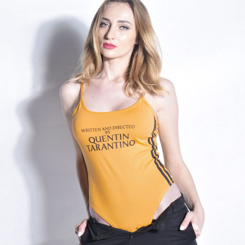 f72044185f QUENTIN TARANTINO Letter Print Bodysuit Women Sleeveless Bandage Body  Feminino Rompers Overalls Sexy Bodycon Jumpsuit Playsuit-in Bodysuits from  Women s ...