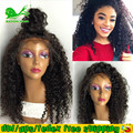 Afro rizada rizada peluca del cordón del frente del pelo natural del pelo humano pelucas con el pelo del bebé barato sin cola pelucas llenas del cordón del pelo humano negro mujeres