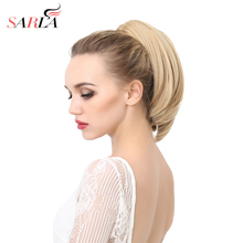 SARLA 50Pcs/Lot Short Claw In Ponytail Extension Straight Synthetic Drawstring Resist High Temperature Hairpieces P003