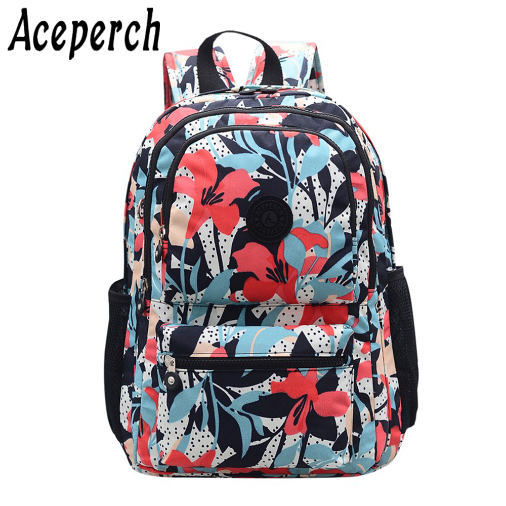 ACEPERCH Girls Original Backpacks Mochila Feminina Escolar School Backpack For Teenage Women Nylon Bolso Mujer Bagpack Sac A Dos