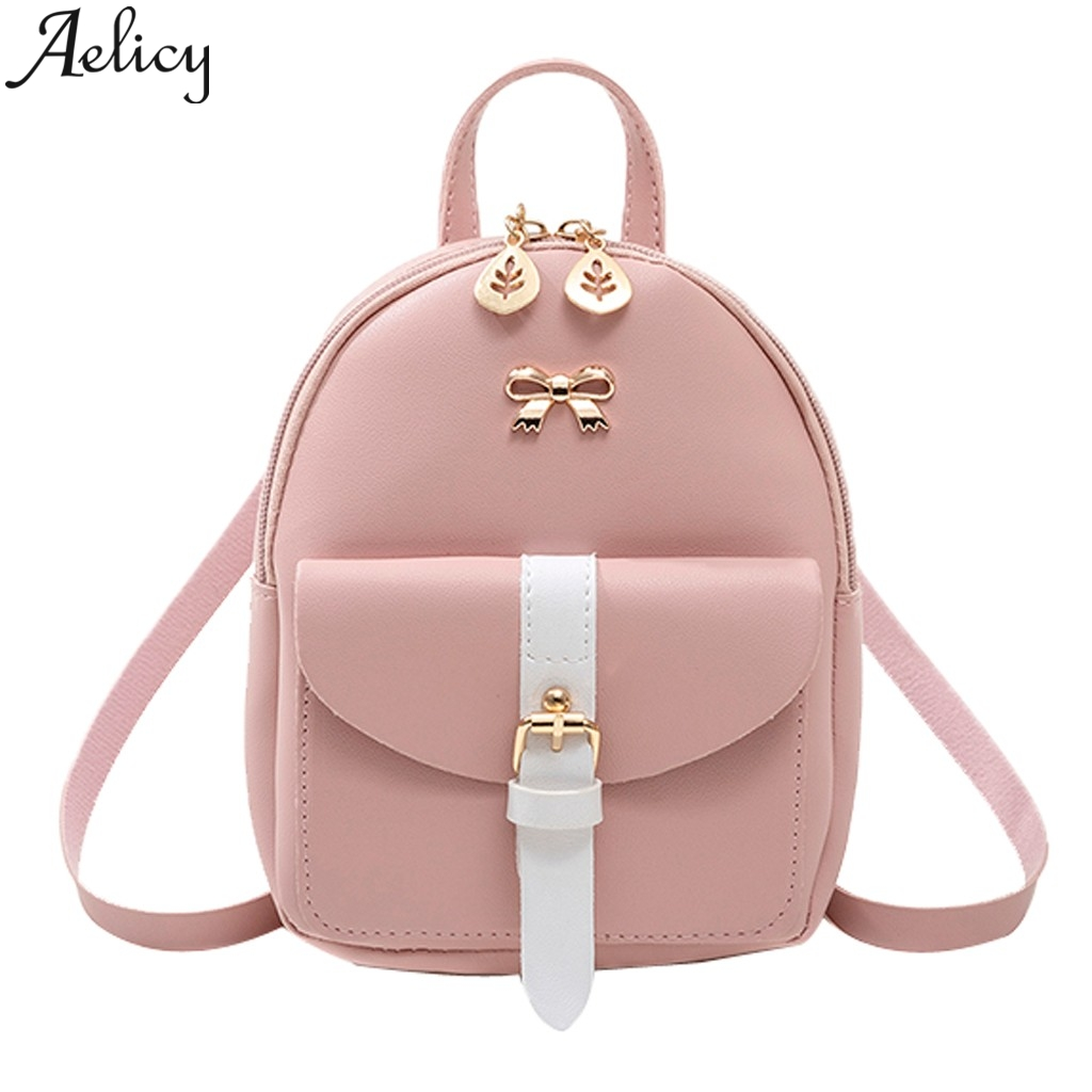 Aelicy Students Small Backpack Letter Purse Mobile Phone  Shoulder Bags Kids Girls Backpack Schoolbag Leather Women Travel