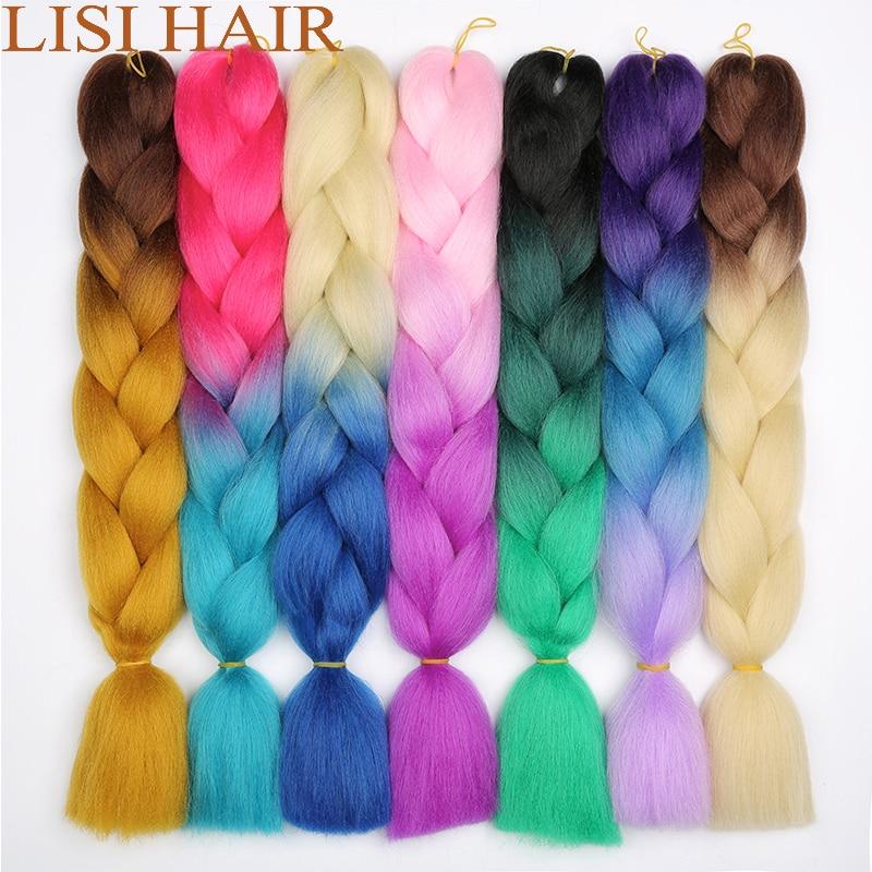 LISI HAIR Long Jumbo Braids Ombre Synthetic Fiber Braiding Hair Russian Women Colourful Hairstyles Crochet Hair Extensions