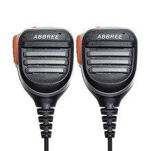 2Pcs Abbree AR 780 Remote Waterdichte Schouder Speaker Microfoon Handheld Microfoon Voor Tyt Baofeng Walkie Talkie UV5R UVS9 UV 10R