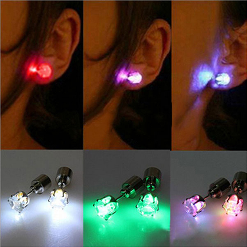 1pc Light Up Led Stainless Steel Earrings Studs for Women Dance Party Accessories for Xmas Night Club Men Earring New Year Gift