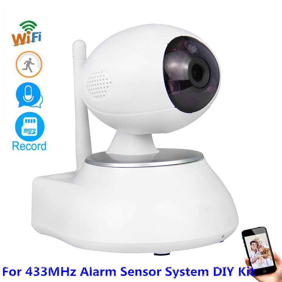 Wireless HD 1MP CMOS Security WiFi IP HD 720P Camera For 433MHz Alarm Door/PIR/Smoke/Gas Sensor Security Alarm System DIY Kit free shipping etiger s3b wireless security alarm system with gsm transmitter 433mhz es cam2a wifi hd 720p day night ip camera