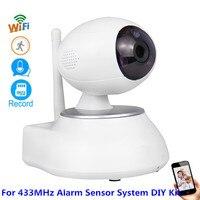 Wireless HD 1MP CMOS Security WiFi IP HD 720P Camera For 433MHz Alarm Door PIR Smoke