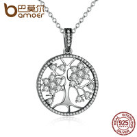 BAMOER Classic 925 Sterling Silver Round Shape Pendant Necklaces For Women Fine Jewelry Collares PSN013