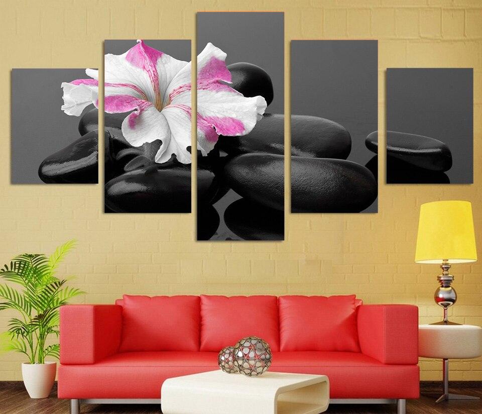 New 5 Piece canvas art Printed spa kameshki cvetok primula Painting ...