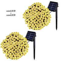 Antikue 2 Pieces Solar LED String Lights 22m 72ft 200 LEDs 8 Modes Outdoor Lighting String Lights Gardens Waterproof Warm White