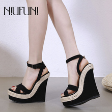NIUFUNI Black Ladies Sandals Platform Sandals Women Shoes Summer High Heels Shoes Ankle Strap female slip-ons Wedges Shoes sorbern khaki women sandals rope high heels platform shoes summer style ladies work shoes wedges sandals ankle strap heels
