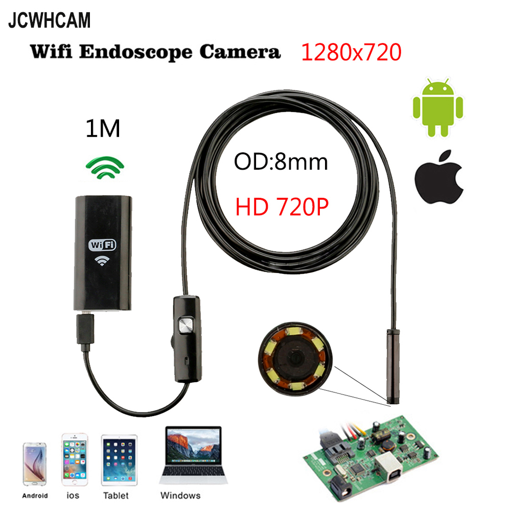 8mm 2MP CMOS Wifi Android IOS Endoscope Camera 1M 2M Cable Waterproof Snake Tube Pipe Borescope 720P For Iphone Camera Endoscope eyoyo nts200 endoscope inspection camera with 3 5 inch lcd monitor 8 2mm diameter 2 meters tube borescope zoom rotate flip