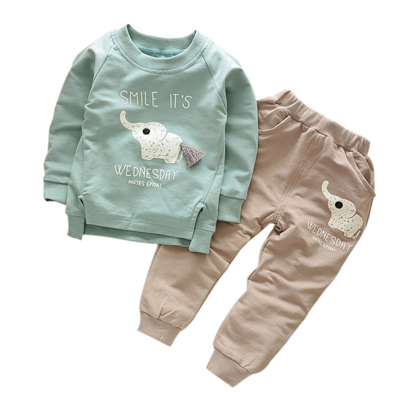 Kids Clothes Autumn/Winter Baby Boys Girls Cartoon Elephant Cotton Set Child T-Shirt+Pants Suit Children Clothing Sets UQ84 child suit 2015 autumn and winter children set twinset clothing plus thick velvet sets kids clothes with animal