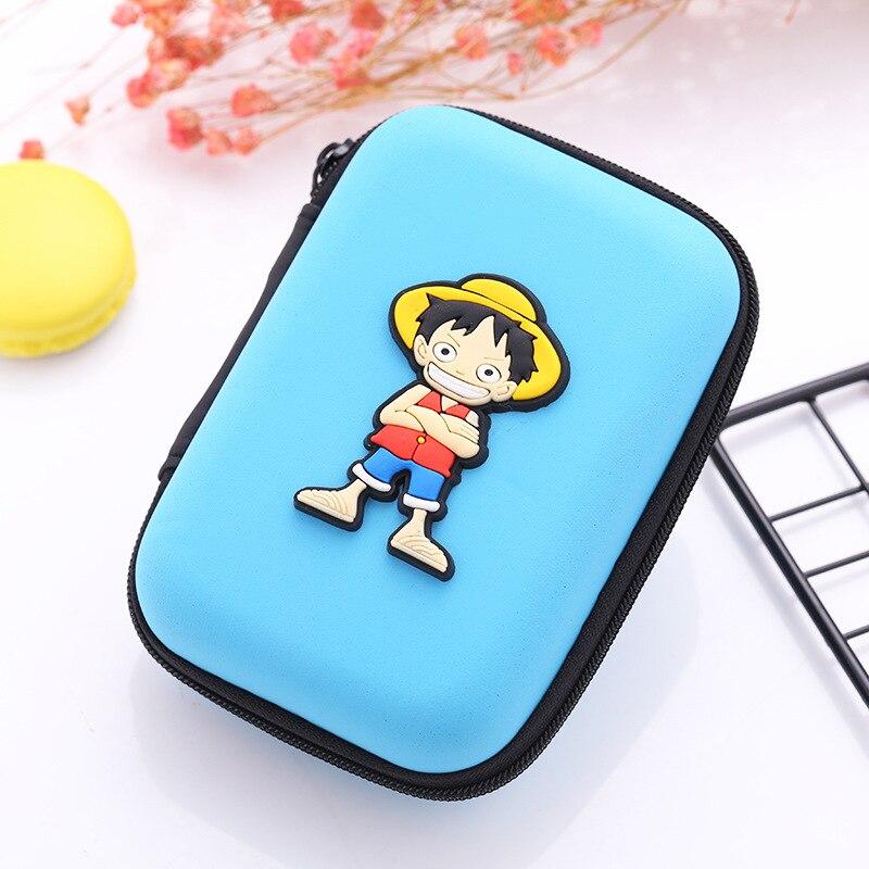 Anime One Piece EVA Earphone Holder Bag Japanese Cartoon Mini Wallet for Teenager Students Kids Boy Girl Silicone Coin Key Purse