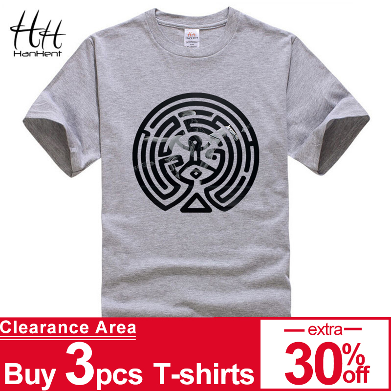 HanHent 2018 New Westworld Maze Printed T-shirt Kortärmade manar kortärmad O-hals bomull West World Dolores manar t-shirt TV-tees