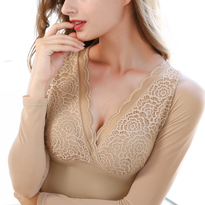 Hot Sale Women's Thermal Underwear Tops Sexy V-neck Long Sleeve Lace Mesh Pacthwork Shape Undershirts Slim Warm Underwear