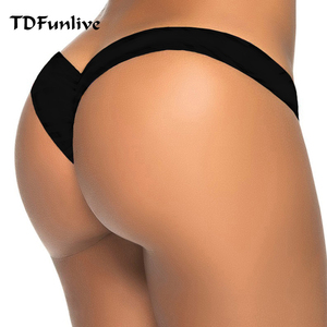 2020 new hot sale black V shape sexy brazilian bikini bottom women swimwear swimsuit trunk tanga micro briefs Panties Underwear(China)