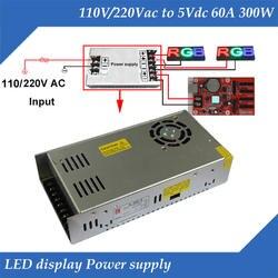 С светодио дный вентилятором В 220/110 В вход, В 5 в 60A 300 Вт выход специальный светодиодный дисплей Блок питания