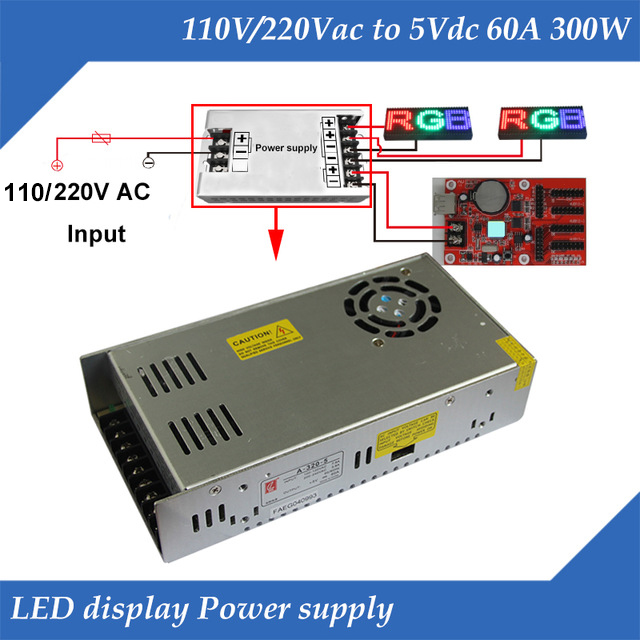 With Fan 110/220V Input, 5V 60A 300W Output Special LED display power supplyWith Fan 110/220V Input, 5V 60A 300W Output Special LED display power supply