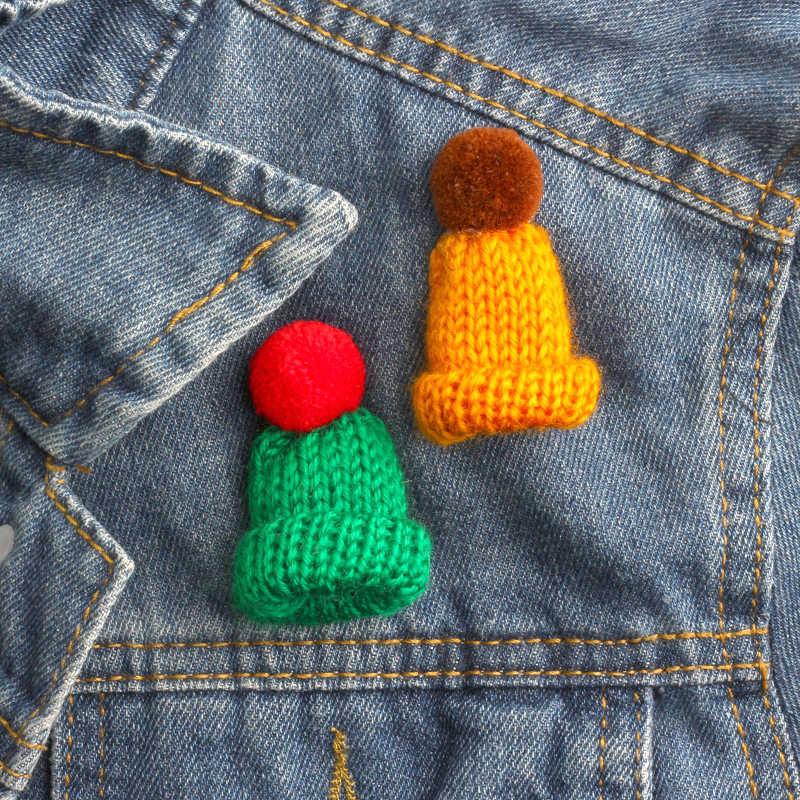 Colorful Mini Wol Rajutan Hairband Topi Bros Sweater Kerah Imut Bros untuk Wanita Lencana Pin Baju Fashion Perhiasan Hadiah