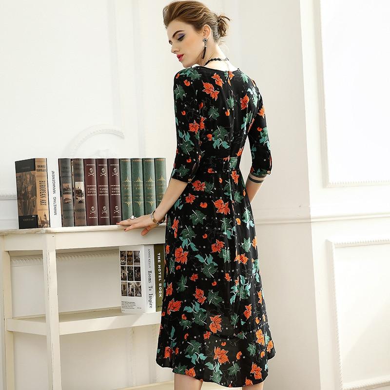 High quality 2018 NEW spring summer V collar half Sleeve Maple leaves printed ruffled defined waist women vestidos
