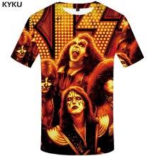 KYKU Band Rock Shirt Red Tshirt Print 3D T Shirt Men Short Sleeve Mens Clothing Punk T-shirt Casual Wear Summer 2018 New цена и фото